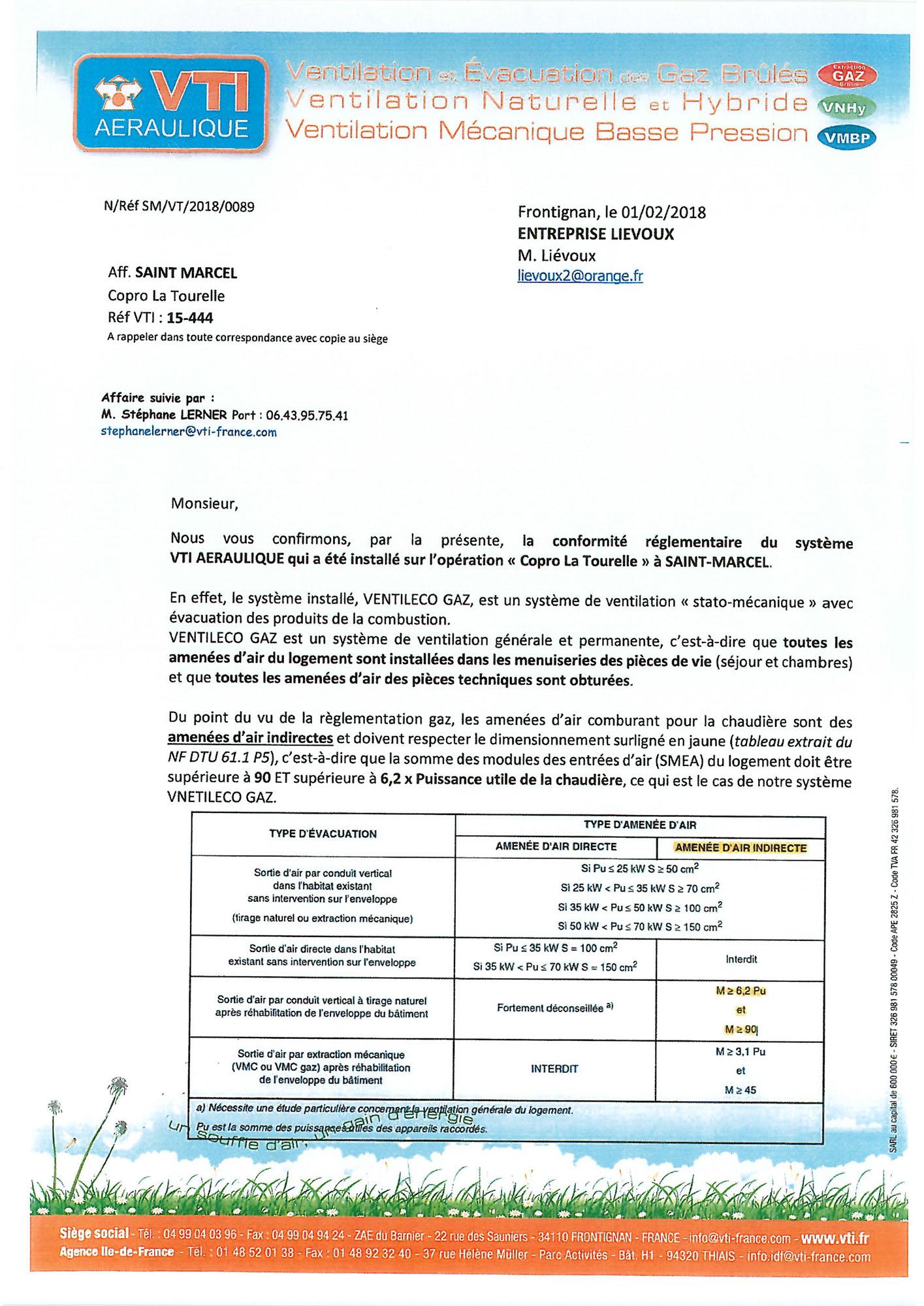 Certificat de conformit de la ventilation copro la - Certificat de conformite gaz ...